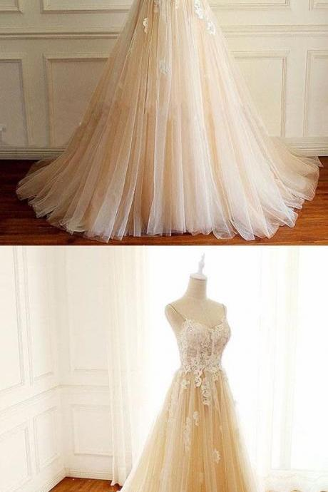 Romantic Wedding Dress,Appliques Wedding Dress,Spaghetti Straps Wedding Dress,Tulle Prom Dress M4606