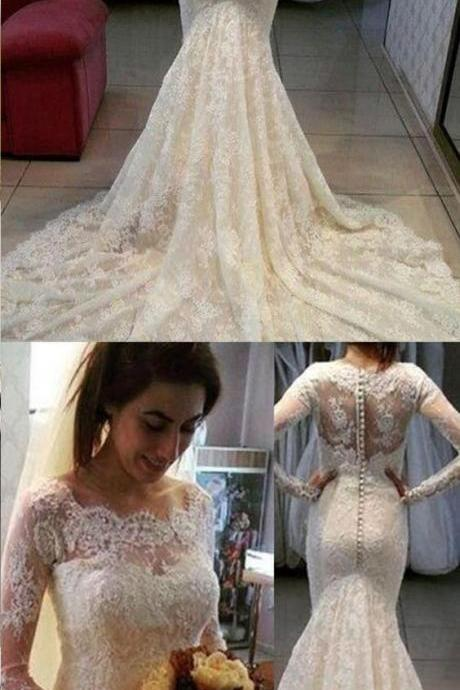 Mermaid Long Sleeves Lace Scalloped-Edge Court Train Beading Wedding Dress M4608