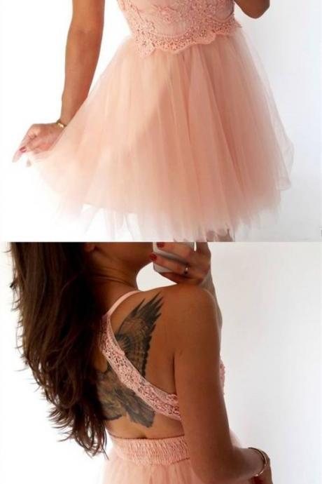 vintage pink lace short homecoming dress for junior, open back tulle prom party gowns, semi formal dress M4626