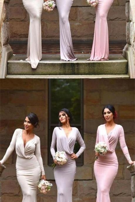 Amazing Pink/Lavender/Ivory Deep V Neck Mermaid Long Sleeves Sweep Train Bridesmaid Dress M4632