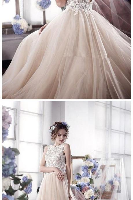 Sleeveless Romantic Tulle bridal dresses wedding gowns Vintage Appliques Wedding Dress M4749