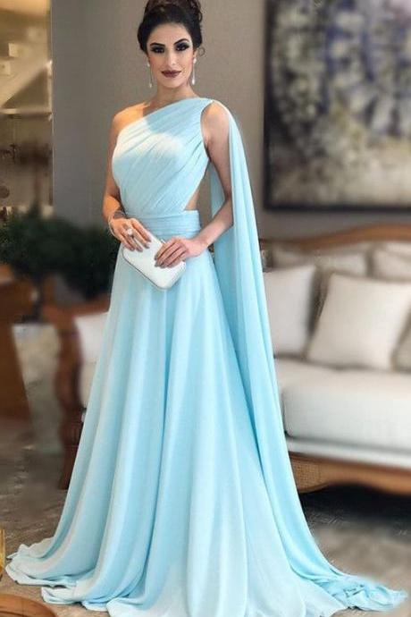 One Shoulder Nude Back Long Chiffon Evening Gowns 2018 Prom Dresses M4854