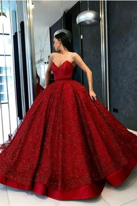 Ball Gown Sweetheart Floor Length Red Sequined Quinceanera Dress M4869