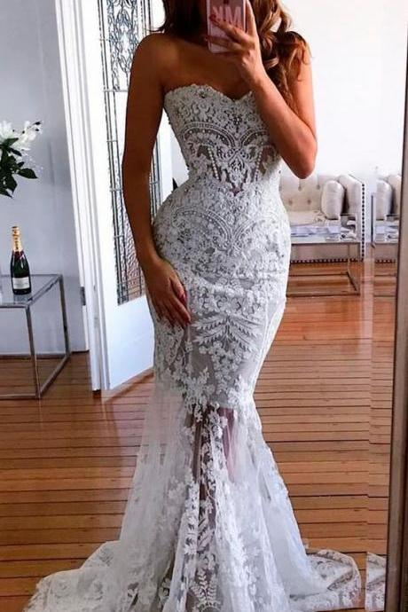 Sweetheart Mermaid Wedding Dresses with Appliques M4877