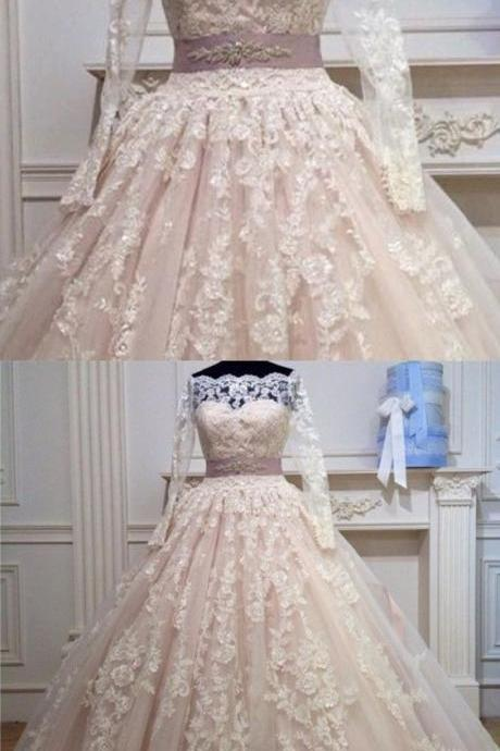 Off The Shoulder Long Sleeves Ball Gown Wedding Lace Dresses With Bow Sashes M4903