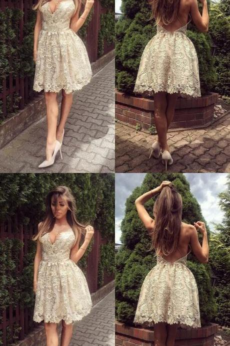 A-Line Deep V-Neck Backless Ivory Lace Short Homecoming Dress M4945