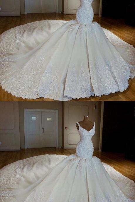 Vintage V-neck Royal Train Satin Mermaid Wedding Dresses Lace Embroidery M4966
