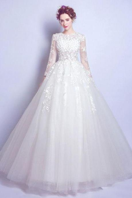 Ball Gown Scoop Floor-length Long Sleeve Tulle Wedding Dress M4974