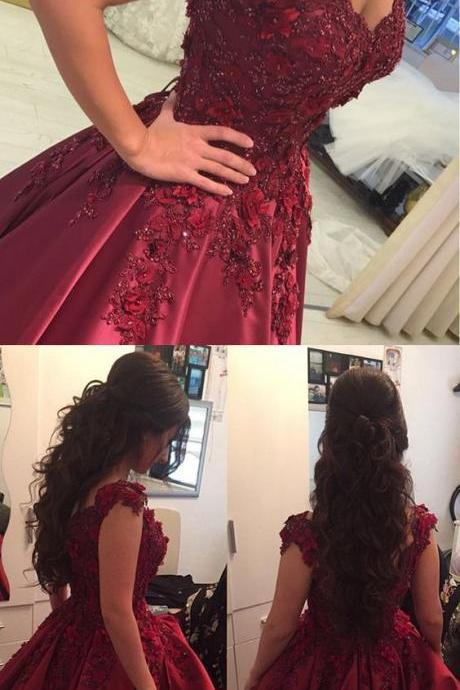 Lace Flower Off The Shoulder Satin Prom Dresses Ball Gowns M4982
