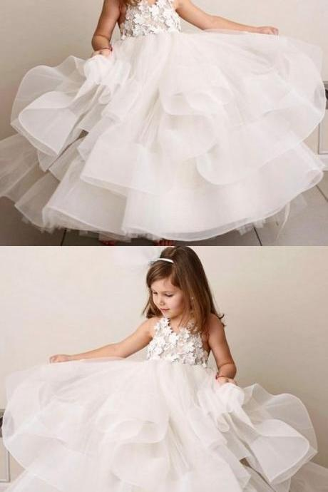 A-Line Round Neck Tiered White Organza Flower Girl Dress with Lace M4999