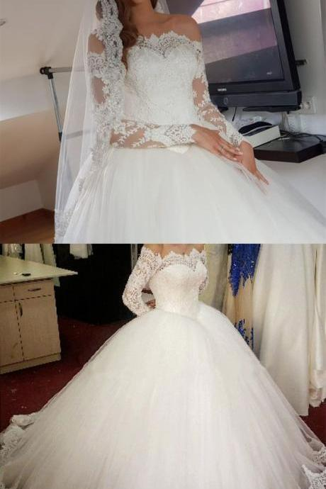 Elegant Off The Shoulder Wedding Dresses Ball Gowns Long Sleeves M5001