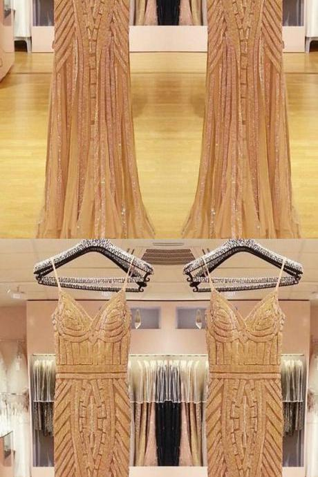 V Neck Long Tulle Mermaid Evening Dresses With Gold Beading M5010