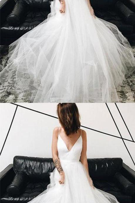 Simple A-Line V-Neck White Tulle Long Prom/Wedding Dress M5013