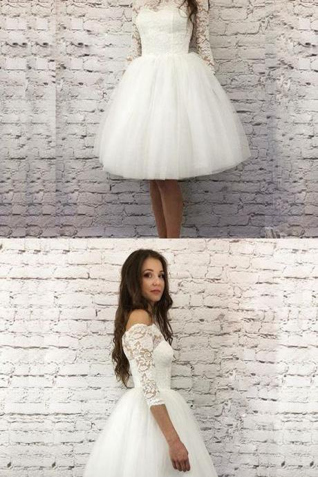 White A-Line 3/4 Sleeves Short Homecoming Dress with Lace M5052