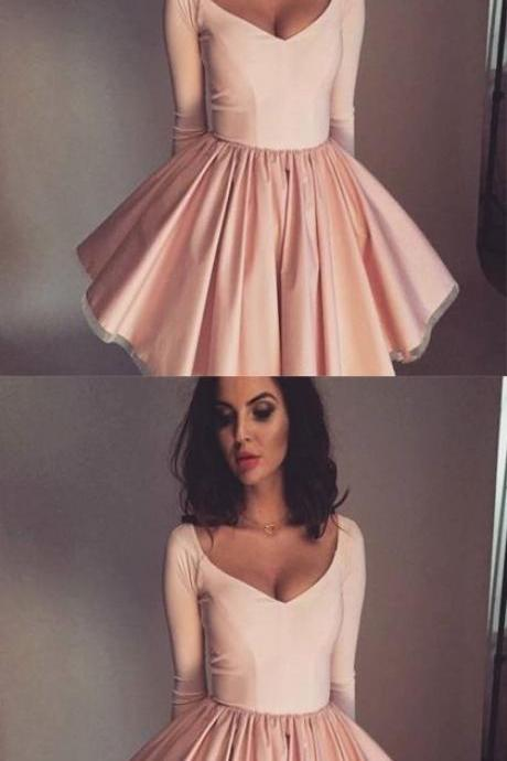 Stylish A-Line V-Neck Long Sleeves Pink Short Homecoming Dress M5068