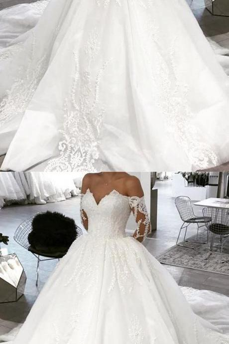 Off Shoulder V-neck Tulle Ball Gown Wedding Dress Lace Appliques M5103