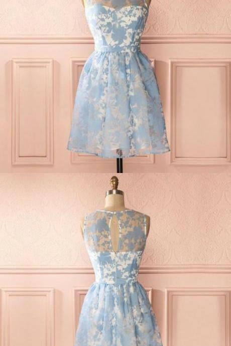 A-Line Round Neck Keyhole Back Blue Homecoming Dress with Lace M5135