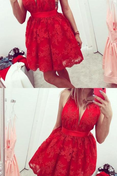 Deep V-Neck Backless Red Short Homecoming Dress with Appliques M5147