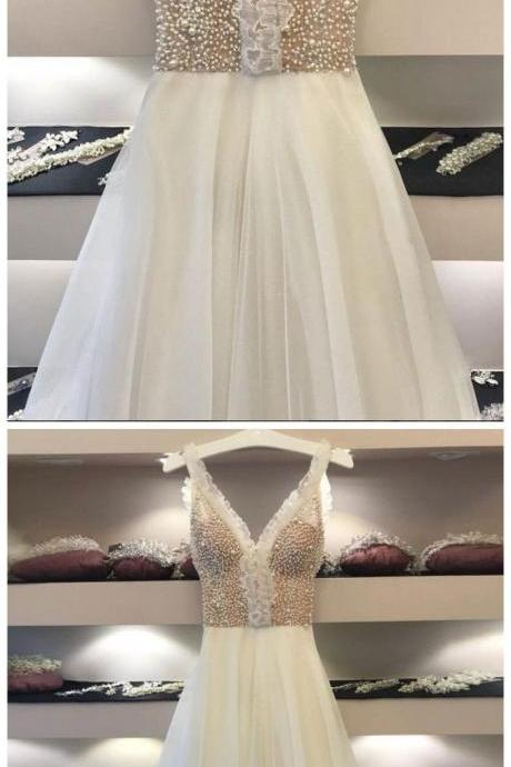A-LINE STRAPS IVORY PROM DRESS UNIQUE BEADING PROM DRESSES LONG EVENING DRESS M5151