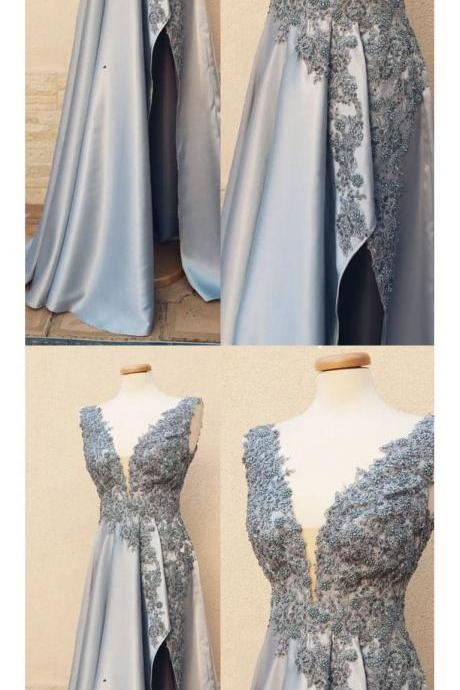 A-LINE V NECK SILVER PROM DRESS WITH SILT MODEST LACE PROM DRESSES LONG EVENING DRESS M5154