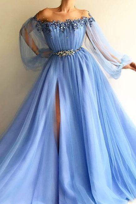 New fashion off the shoulder blue tulle long charming evening dress ,beautiful sexy prom dress M5164