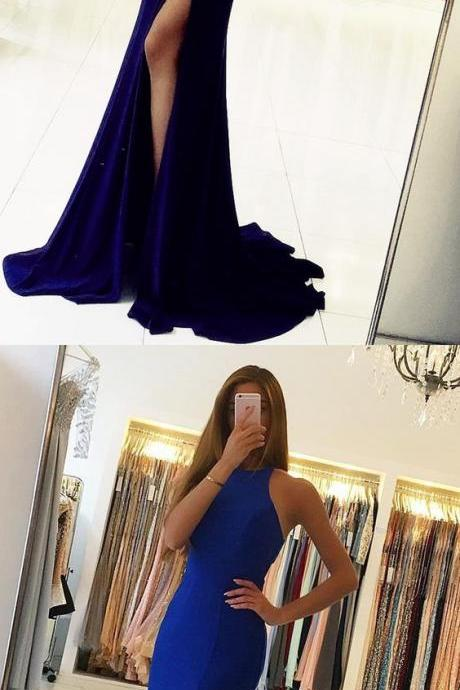 Long Jersey Backless Mermaid Prom Dresses 2018 Split Evening Gowns M5207