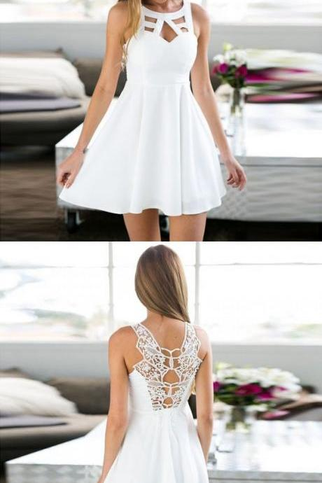 A-Line Jewel Keyhole White Short Homecoming Dress with Lace M5257