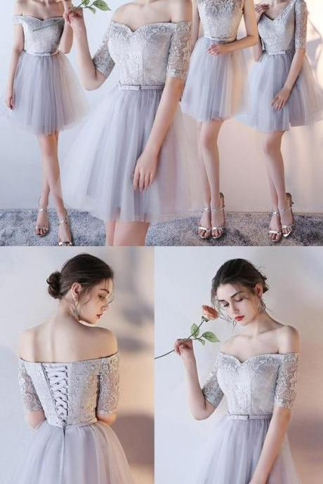 Cheap Sleeves Dresses Short Silver Prom Party Dresses With Belt/Sash/Ribbon Lace Up Mini Popular Homecoming Dresses M5260