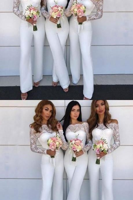 Off The Shoulder Long Lace Sleeves White Bridesmaid Jumpsuit With Sash M5279