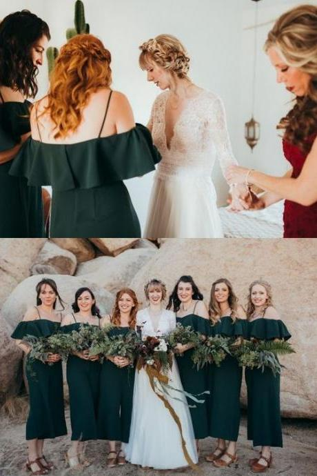 Off The Shoulder Dark Green Bridesmaid Cropped Jumpsuit M5280