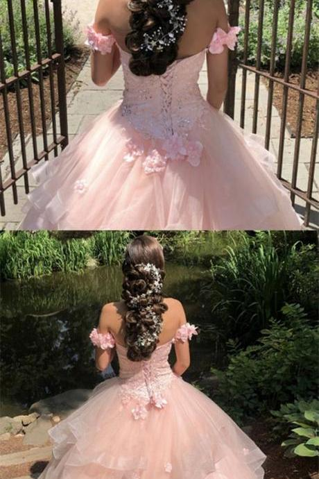 Off The Shoulder Organza Ball Gowns Sweetheart Quinceanera Dresses Lace Applique M5302