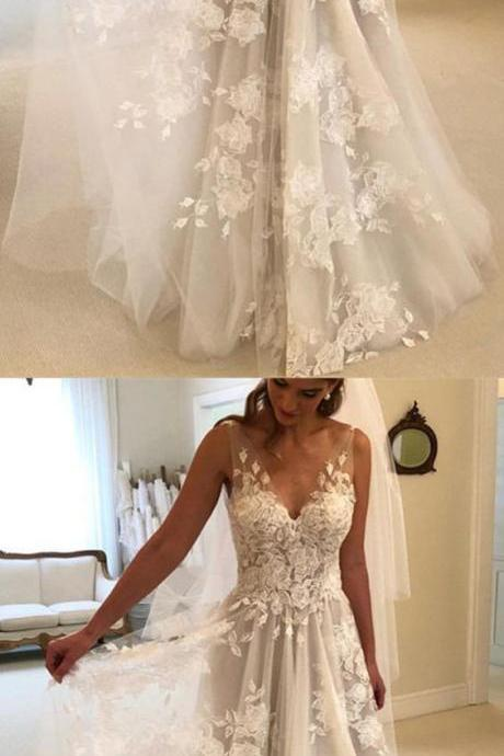Princess Style A-line V-neck Tulle Floor Length Wedding Dresses Lace Embroidery M5393