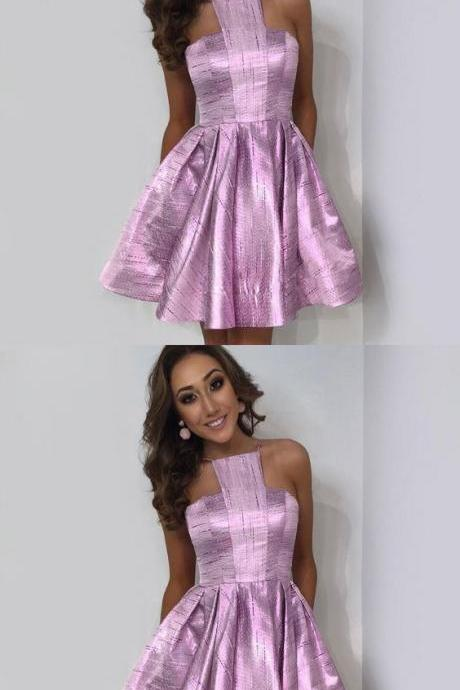 A-Line Jewel Sleeveless Lavender Satin Short Homecoming Dress M5417