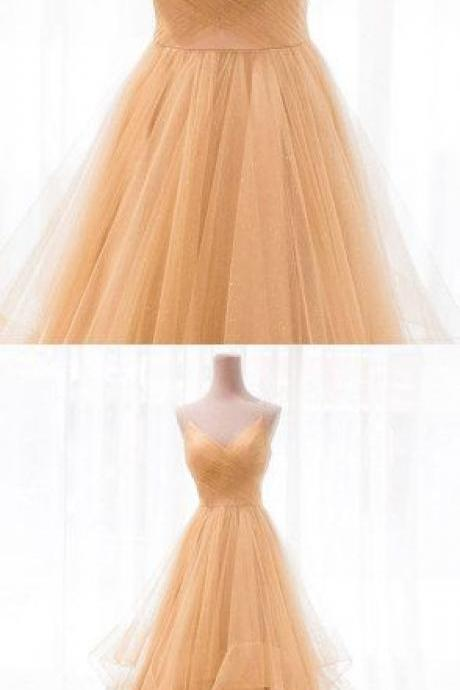 Gold v neck tulle long prom dress, evening dress M5420