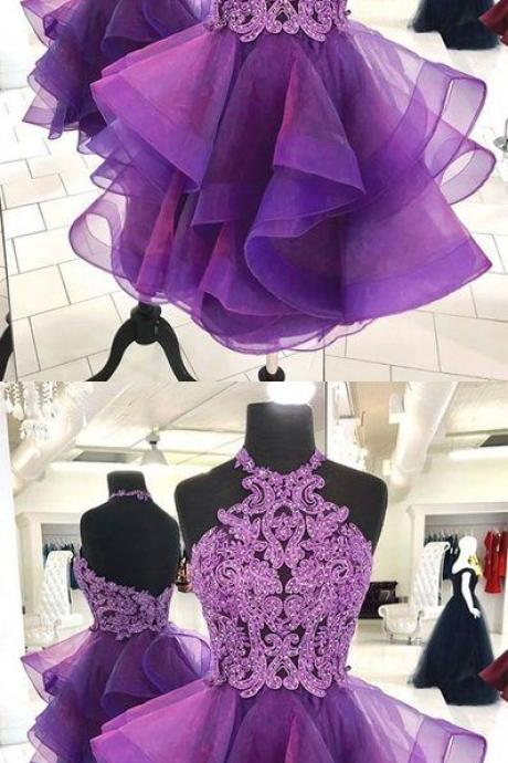 CUTE PURPLE TULLE LACE SHORT PROM DRESS, PURPLE HOMECOMING DRESS M5424