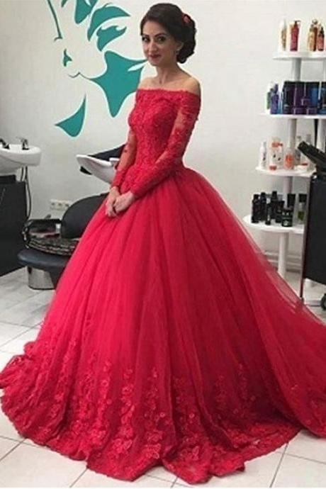 Elegant Tulle Off-the-shoulder Neckline Long Sleeves Ball Gown Prom Dress With Beaded Lace Appliques M5427