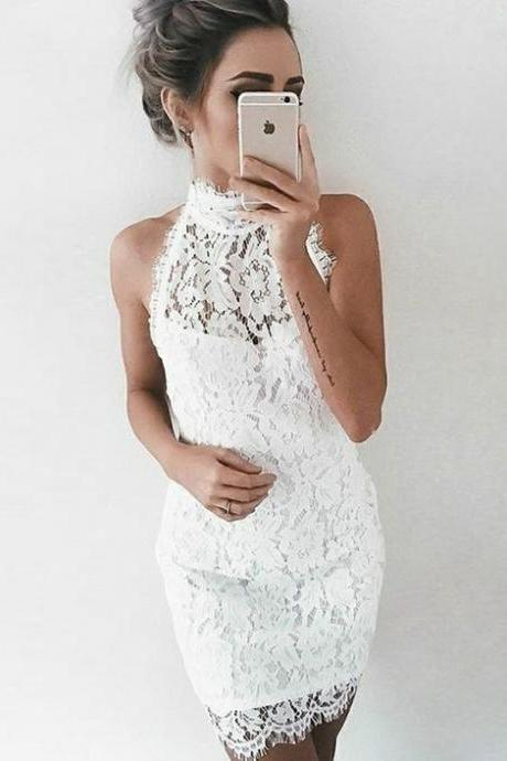 high neck lace tight homecoming dress, white bodycon short prom dress M5430