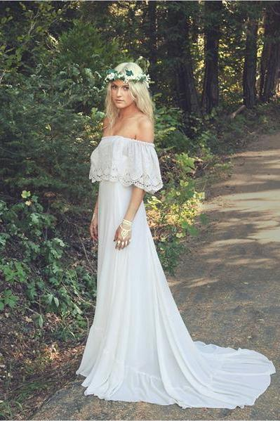 Boho Wedding Dress, Wedding Dress Boho,Off Shoulder Wedding Dress,Bohemian Wedding Dress M5475