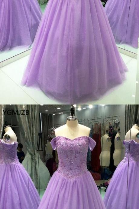 Lilac Ball Gown Strapless Floor-length Evening Dresses Ball Gown Strapless Floor-length Evening Dresses M5476