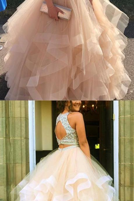 Sparkly Sequins Beaded Organza Layered Ball Gowns Prom Dresses Two Piece M5487