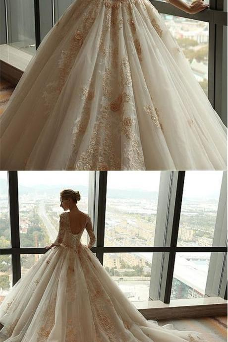 A-Line V-neck Backless 3/4 Sleeves Court Train Wedding Dress with Appliques M5492