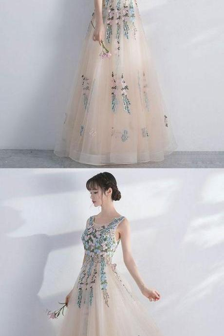 Champagne round neck tulle lace long prom dress, evening dress M5597