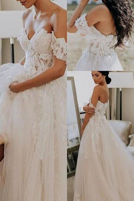 A-Line Off-the-Shoulder Short Sleeves Court Train Wedding Dress with Appliques M5713