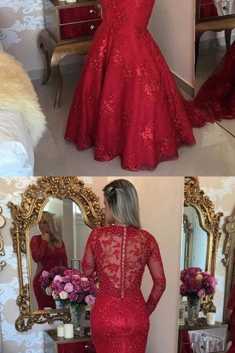 Mermaid V-neck Tulle Sweep Train Appliques Lace Red Long Sleeve Prom Dresses,Red Evening Dress,Cheap Evening Dress M5730