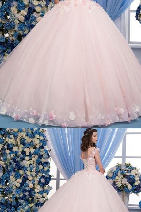 Exquisite Tulle Sheer Jewel Neckline Ball Gown Wedding Dress With Lace Appliques & 3D Flowers & Beadings M5747