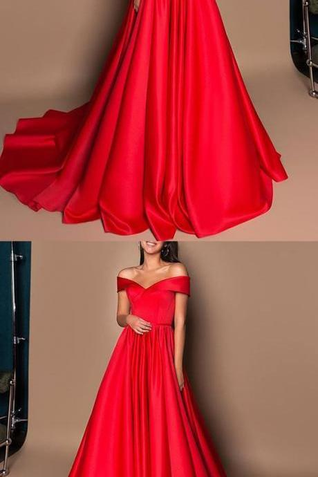 Gorgeous Ball Gown Off the Shoulder Red Satin Long Prom Dresses with Train, Vintage Long Evening Dresses M5751