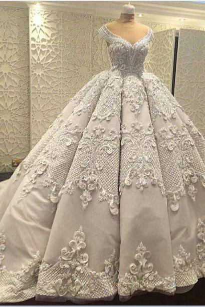 Gorgeous Wedding Ball Gown Prom Dresses,Elegant Prom Gowns ,Applique Evening Dresses,Fashion Prom Dress M5890