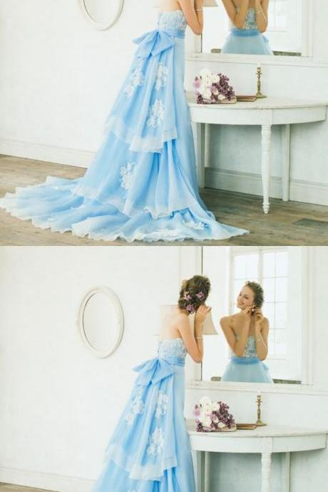 Sky Blue Sweep Train Prom/Evening Dress With Lace M5944