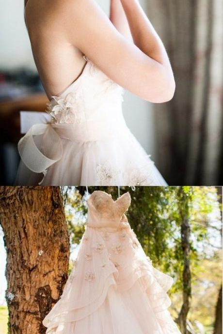 Beautiful Wedding Dresses Aline Sweetheart Hand-Made Flower Chic Bridal Gown M5956