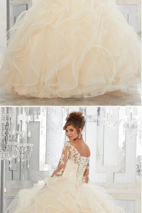 Elegant Tulle Off-the-shoulder Neckline Ball Gown Quinceanera Dresses With Beaded Lace Appliques M5960